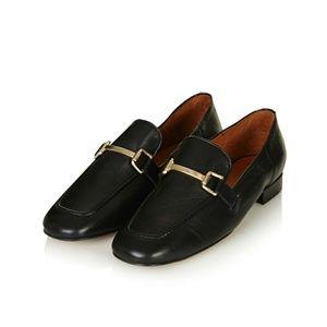 Topshop Black Karter Leather Loafers